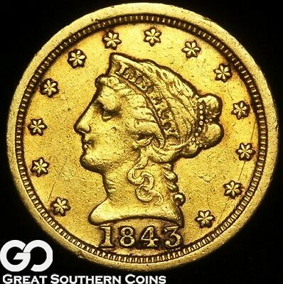 1843-C Quarter Eagle, $2.5 Gold Liberty, Coveted CHARLOTTE Scarce Key Date!