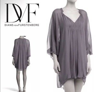 adc61cc06235 Diane Von Furstenberg DVF Silk Chiffon Fleurette Grey Dress Size 4 Rt:$468  New