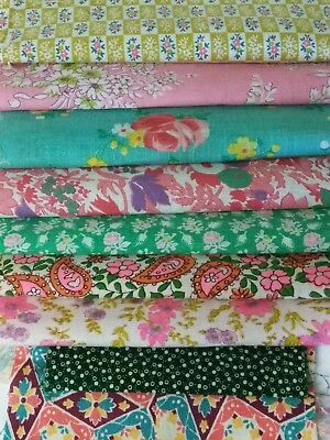 Lot of 9 VTG Floral & Novelty Fabric Feedsack Remnants scraps
