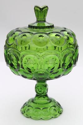 """Vintage L.E. Smith Dark Green Glass Large 12"""" MOON & STARS Footed Lidded Compote"""