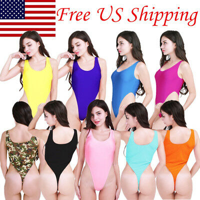 US Women Sleeveless High Cut Thong Leotard Gymnastic Dancewear Bodysuit Swimsuit