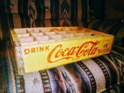 Vintage YELLOW 1970 S Coka Cola wooden 24 PACK crate