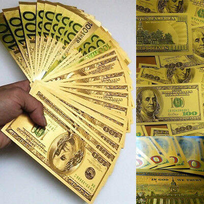 7Pcs/Set USA Banknote Money Dollar Fake Currency Bill Craft Art Gold Foil Acces