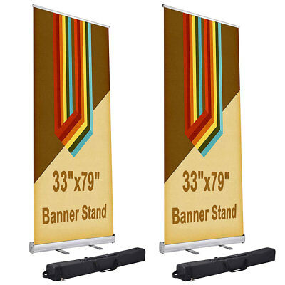 "2 Pcs 33x79"" Aluminum Retractable Roll Up Banner Stand Trade Show Display w/ Bag"