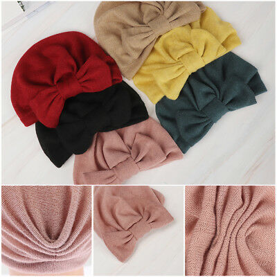 Sleep   Winter Warm Baby Beanie Cap Knit Head Wrap  Turban  Detachable Bowknot