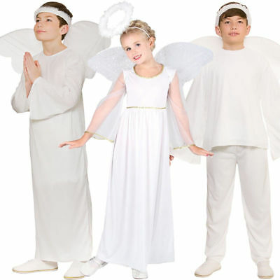 Child White Angel Gabriel Fancy Dress Costume Christmas Nativity Kids Outfit Age