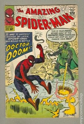 MARVEL Comics SPIDERMAN SILVER age #5 1963 DR DOOM appearance VG+ 4.0