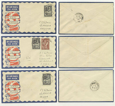 1936 3 Air Mail Covers from NIGERIA, Interesting
