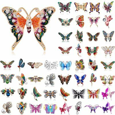 Women Insects Butterfly Rhinestone Crystal Brooch Pin Costume Elegant Jewelry