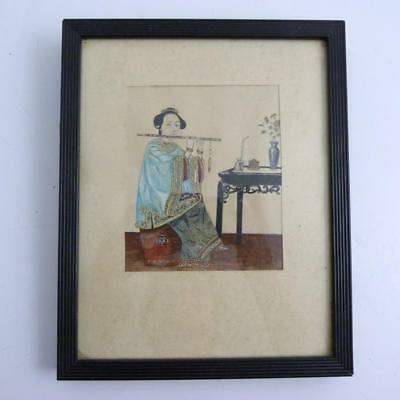 Chinese Framed Gouache Painting Of A Lady Smoking A Pipe, 19Th Century