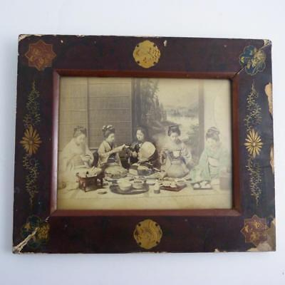 Large Japanese Black & White Photo Of Geisha's In Lacquered Frame, Meiji Period
