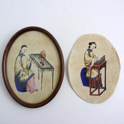 2 X Chinese Gouache Painting Of Ladies Playing Musical Instruments, 19Th Century