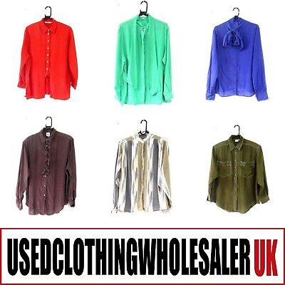 50 WOMEN'S 80's VINTAGE PURE SILK BLOUSES SHIRTS WHOLESALE FASHION CLOTHING