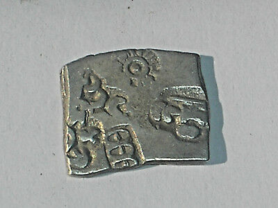 321-297 bc ANCIENT MAURYAN SILVER SUN & WAGON WHEEL PUNCH MARK COIN INDIA Rare