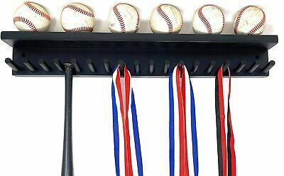 Baseball Bat Rack Display Holder 17 Mini Collectible Bats 6 Balls Black