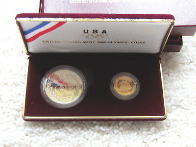 1988 Proof Olympic Coin Set $5 Gold & Silver $1 Dollar &  Original Box