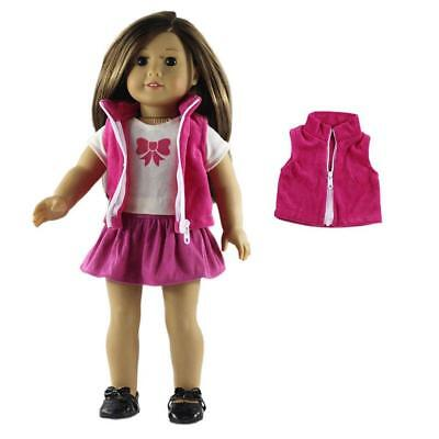 Pink Plush Zippered Vest Dall Jacket Fits 18 Inch American Girl Doll Clothes
