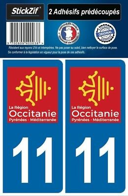 2 Stickers Departement 11 Plaque Immatriculation Auto Blason Region Occitanie