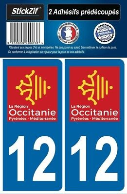 2 Stickers Departement 12 Plaque Immatriculation Auto Blason Region Occitanie