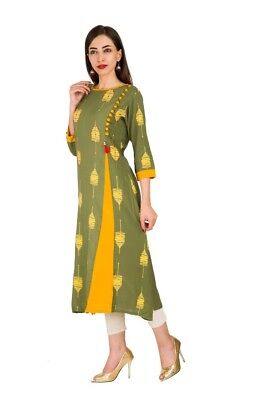 Trendy Tunic Designer Kulfi Print Handmade Rayon Indian Women Green Kurti Dress