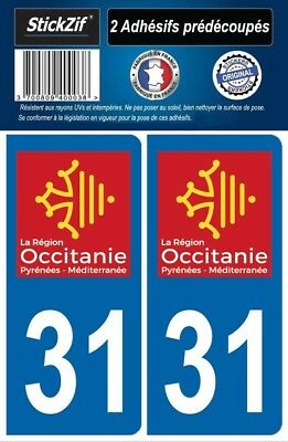 2 Stickers Departement 31 Plaque Immatriculation Auto Blason Region Occitanie