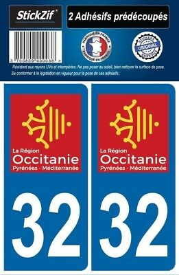 2 Stickers Departement 32 Plaque Immatriculation Auto Blason Region Occitanie
