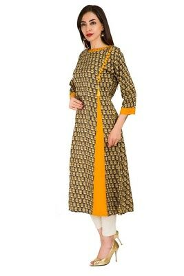 Party Wear Top Stylish Indian Women Ethnic Floral Printed Side Cut Brown Kurti