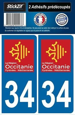 2 Stickers Departement 34 Plaque Immatriculation Auto Blason Region Occitanie