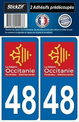 2 Stickers Departement 48 Plaque Immatriculation Auto Blason Region Occitanie