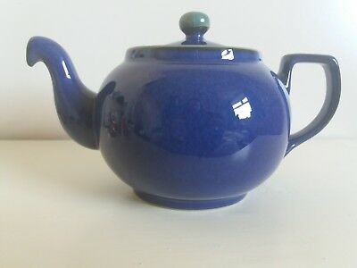 Denby Cottage Blue Stoneware Teapot Green With Trim