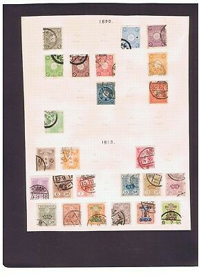 Japan Nippon nice lot of 69 old used stamps on album pages 1899-1942