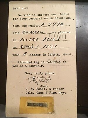1947 Postcard With Tag - Colorado Game & Fish Dept. Return Of Rainbow In Poudre