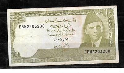 Pakistan #39 1984 Vg Circ 10 Rupees Old Banknote Paper Money Currency   Note