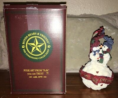 Boyds Bears Folkstone Collection 1997 First Christmas Snowball Tree Ornament/Box