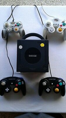 Nintendo GameCube black Console with 4 controllers lot 4