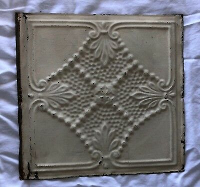 1890's 12 x 12 Antique Tin Ceiling Tile Ivory Metal Reclaimed Anniversary 533-18