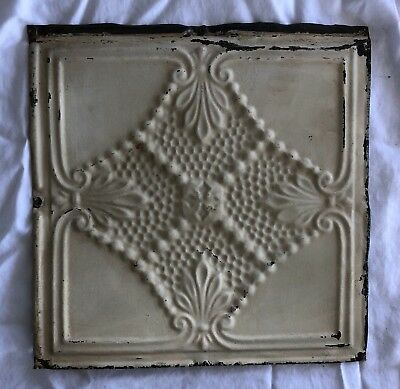 1890's 12 x 12 Antique Tin Ceiling Tile Ivory Metal Reclaimed Anniversary 535-18