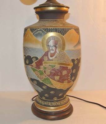 Ancien Japonais or Satsuma Moriage Art Porcelaine Vase 58.4cm Lampe de Table - 2