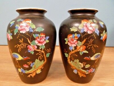 "Pair of Vintage Crown Devon Fieldings ""Chelsea"" Small Balluster Vases - 13cm"