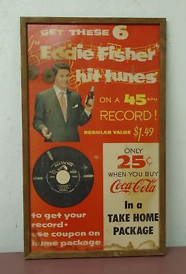 "1955 Eddie Fisher Coca Cola Sign Advertising ""Coke Time"" 45 Record Cardboard 27"""