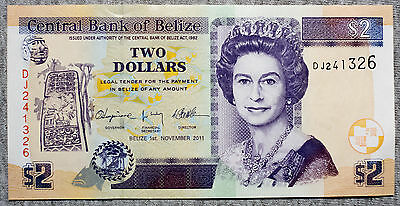 Belize Two Dollars 2011 P-66d Au-Unc.