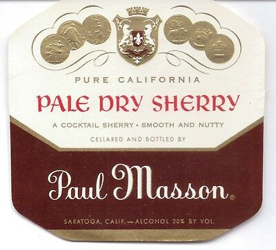 Paul Masson-Pale Dry Sherry-Saratoga,ca-Wine Label-4 1/4 By 4 1/4 Nches