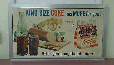 "Vintage 1950's/1960's ""King Size Coke"" Cardboard Sign Original Frame 38.5"" x 22"""