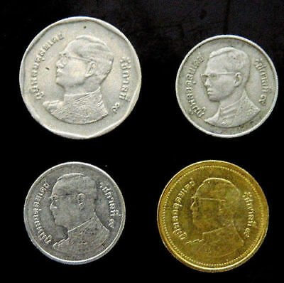 1995 2006 5 and 2 and 1 baht thailand siam king temple coin lot of 4 coins