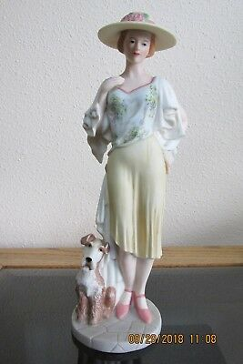 "Emma & Raleigh Home Interior's Figurine 10"" Tall Lady & Dog 14052-05"