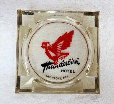 "VINTAGE 1950's ""THUNDERBIRD Hotel & Casino"" Ashtray Las Vegas Nevada Light Gray"