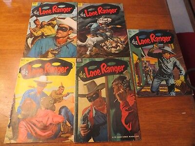 Dell Comic Lot of 5 The Lone Ranger comics 1952 & 1953 46, 50, 54, 55, 60