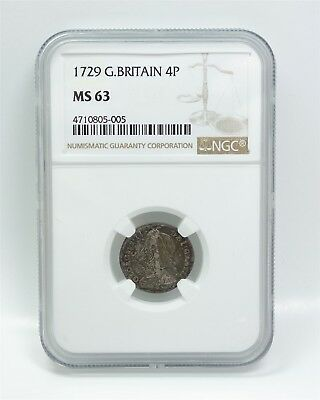 Estate Found NGC Certified 1729 Great Britain Silver Four Pence MS 63