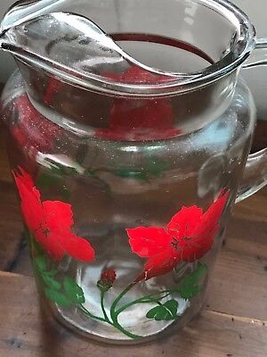 Large Heavy Antique Water Juice Pitcher With Hawaiian Red Hibiscus Design
