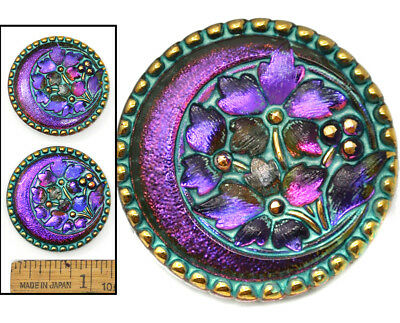 32mm Vintage Czech Glass Crescent Moon w/FLOWERS Purple AB TURQUOISE Buttons 2pc
